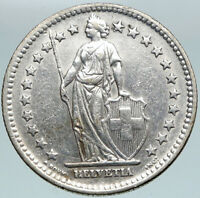 1963 SWITZERLAND - SILVER 2 Francs Coin HELVETIA Symbolizes SWISS Nation i88243