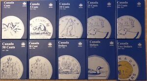 Complete Canada Coin Collection -Set of 10 Folders:1¢, 5¢, 10¢, 25¢, 50¢, $1, $2