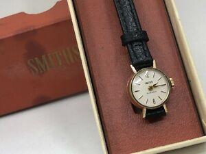 Vintage 9k 9ct Solid Gold Ladies SMITHS Watch + Box