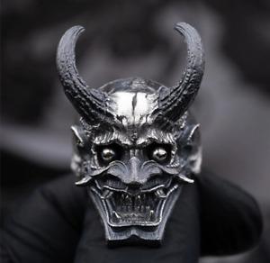 Men's Ring Skull Horns Dragon Japanese Devil Stainless Steel Gothic Biker Jewelr
