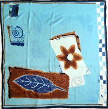 "100% Silk Seide Large Square Scarf Kerchief Bandana Sky Blue Beach Navy 34"" 86cm"