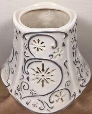 Yankee Candle Silver Snowflake Ceramic Porcelain Large Jar Candle Ceramic Shade