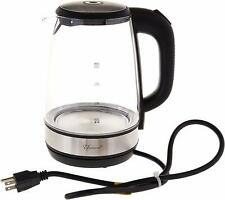 2.1 Quart Glass Tea Kettle with Blue Illumination Light,1500 W,Black