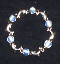 """DOLPHIN & BLUE SIMULATED (?) CAT'S EYE MAGNETIC CLOSURE BRACELET 7 1/2""""L"""
