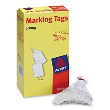 Avery White Marking Tags Strung, 1.75 x 1.093-Inches, Pack of 1000 12204