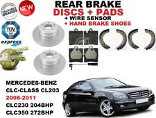 FOR MERCEDES CLC CL203 COUPE REAR BRAKE DISCS SET + PAD KIT + SENSOR + SHOES