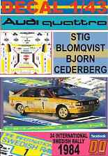 DECAL 1/43 AUDI QUATTRO A2 STIG BLOMQVIST SWEDISH R. 1984 WINNER (01)
