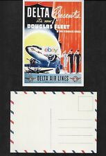DELTA AIR LINES 1940'S ITS NEW DOUGLAS DC-3 FLEET STEWARDESS SERVICE POSTCARD