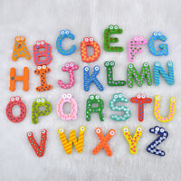26Pcs Funny Magnetic Letters Alphabet Wooden Baby Kids Learning Toy Fridge New