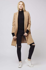 Topshop Camel Slouch Trench Midi Wool Duster Jacket Winter Coat Size 4 - 14 New