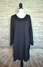 LANE BRYANT Womens Grey Black Long Sleeve Sweater Tunic Dress Size 22/24