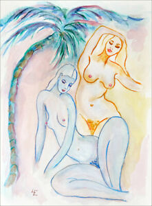 """""""PALM TREE GIRLS""""  FINE ART PAPER PRINT, FROM ORIGINAL WATERCOLOUR  BY  LINA EVE"""