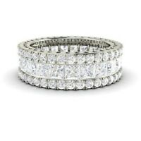 5.20 Ct Princess Cut Diamond Engagement Eternity Band 14K Solid White Gold Ring