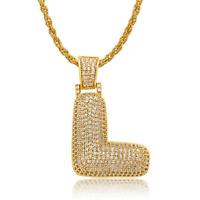 Ice City Men Bubble Letters Pendant Necklace Chain Men Neck Chain 60cm