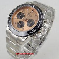 39mm PARNIS rose dial sapphire glass ceramic full Chronograph quartz mens watch