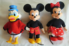 3 DOLLS BY WALT DISNEY-  AJENA FRANCE - MICKEY & MINNIE  MOUSE & DONALD DUCK