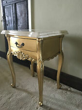 CREAM MARBLE FRENCH GOLD LEAF ORNATE BED SIDE TABLE SIDE END TABLE