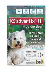 K9 ADVANTIX II FLEA & TICK FOR DOGS 11-20 LB 6 DOSES SHIPS FROM USA EPA APPR.
