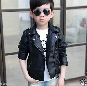 Kids Spring new children's clothing boys PU leather jacket