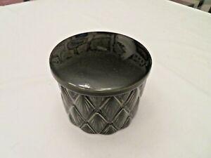 "Nate Berkus Black White Diamond Decorative Urn Cosmetic Jar 4"" Tall  Covered"