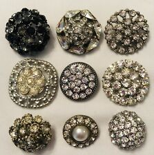 New listing Vintage Antique Lot of 9 Rhinestone Silver Buttons - Black & Colorless Stones