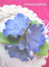 Gum Paste Sugar Large Violet Blossoms, Leaves, Cake Decorating Flowers