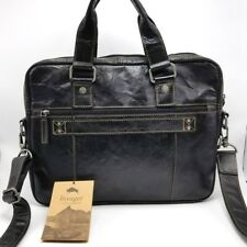 Jack Georges Voyager Briefcase Double Gusset Top Zip Black Leather