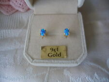 Vintage Blue Oval Opal 9ct Gold Earrings 9 ct Ear Rings with Opals box as shown