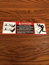John Deere 318 Mower Deck Decal  Danger Blades