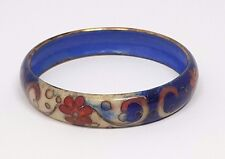 Vintage   OLD Blue CHINESE CLOISONNE ENAMEL BANGLE wide Bracelet