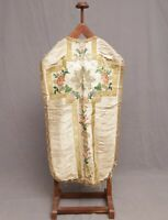 Antique French Embroidered Brocade Christian Vestment Chasuble Priest IHS