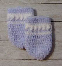 crochet Baby mittens sky blue white boy  0/6 month knit handmade