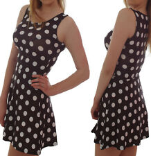 SLEEVELESS SKATER DRESS BLACK WHITE POLKA DOT VINTAGE SIZES 6-16 ALTERNATIVE