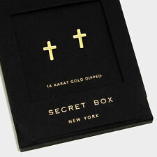 Cross Earrings Small Secret Gift Box 14K GOLD DIPPED Tiny Stud Classic Elegant