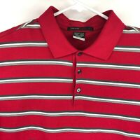 Nike Dri Fit Tiger Woods Golf Polo Striped Red Short Sleeve Men's Size Large