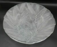 "Mikasa Frosted Japanese Bamboo Leaves Pattern  Glass Serving Platter 14"" Round"