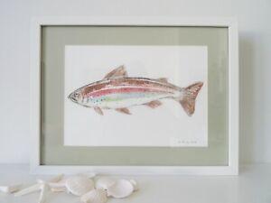 Rainbow Trout, original watercolor (43 cm x 33 cm), coastal art