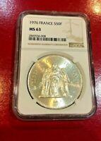 1976 FRANCE 50 FRANCS COIN NGC MS 63 LARGE SILVER COIN