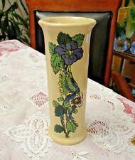 "Royal Haeger Hand Painted Vase 8"" x 3""  Earth-tone Purple & Blue VGC"