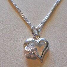 """Heart & Flower Sterling Silver Ankle Bracelet - 9"""""""