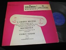CHOPIN / BEETHOVEN<>GYORGY SANDOR<>Lp Vinyl°Canada Press°COLUMBIA ML 4193