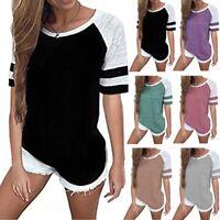 Womens Short Sleeve Baseball Shirt Basic Causal Blouse T-shirt Tee Tops Summer