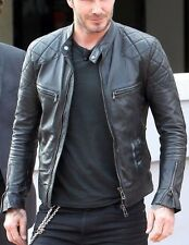 Mens Leather Jacket Black Slim fit Genuine Lambskin Biker Motorcycle jacket 903