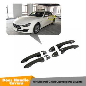 For Maserati LEVANTE Quattroporte Ghibli 13+ Door Handles Cover Cap Carbon Fiber