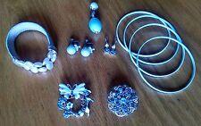 Light sky blue rhinestones pins brooches earrings bracelets bangles 10 jewelry