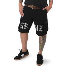 """YAKUZA - Cargo Shorts CSB 12045 """"Skull Label"""" black (schwarz)"""