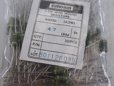 100x WR250 Wire Wound Resistors 2.5W Watt  Eurohm 5% 47 ohms 47R Trade Pack