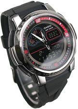CASIO OUTGEAR THERMOMETER WORLD TIME ALARM MEN BLACK RUBBER WATCH AQF-102W-1 NEW