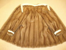 Beige/Brown+WHITE MINK swing 3/4 length Coat/Jacket,MInk HEADBAND,Apres-Ski