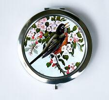 Robin bird Compact MIRROR Pocket Mirror flowers hipster pretty